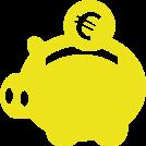 illustration d'une tirelire jaune en forme de cochon